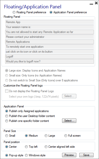 application-panel-customization